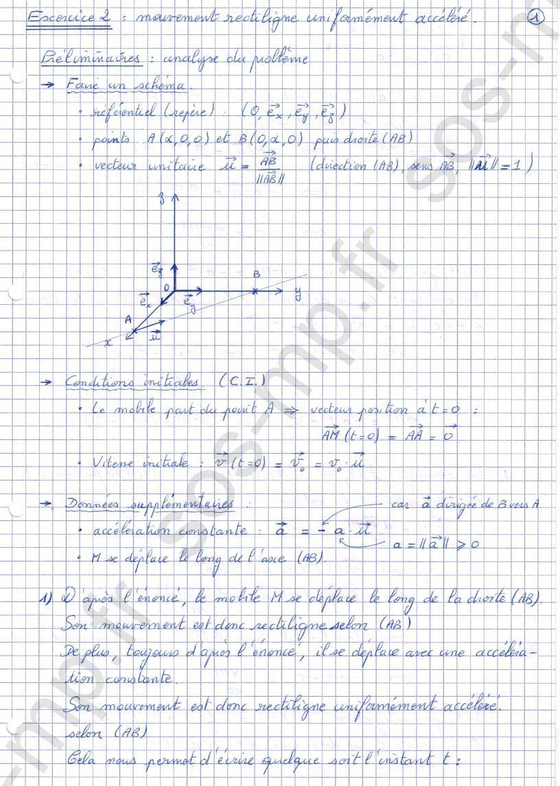 sos-mp.fr - Mécanique - Mouvement rectiligne uniformément accéléré - Exo2-1