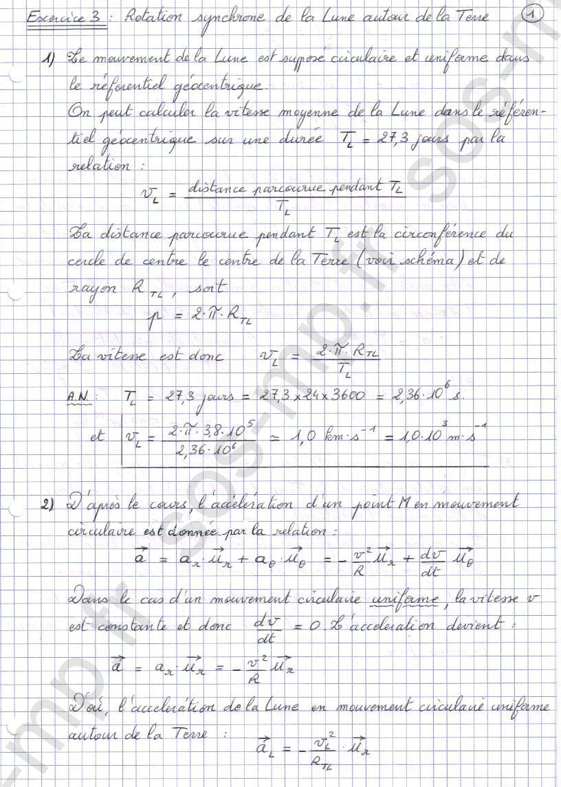 sos-mp.fr - Mécanique - Rotation synchrone de la Lune autour de la Terre - Exo3-1