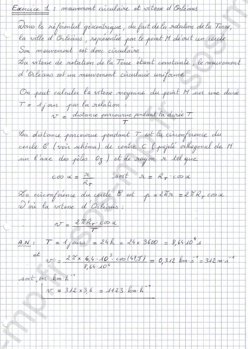 sos-mp.fr - Mécanique - Mouvement circulaire et vitesse d'Orléans - Exo1