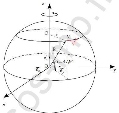 sos-mp.fr - BCPST1 - Mécanique - Mouvement circulaire et vitesse d'Orléans - Ex1 - schéma
