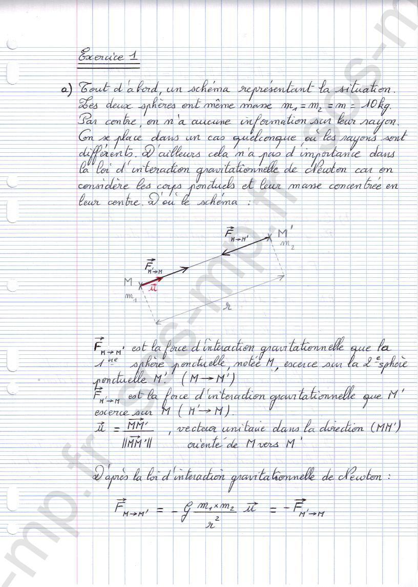 sos-mp.fr - Mécanique - Interaction gravitationnelle - Exo1-1