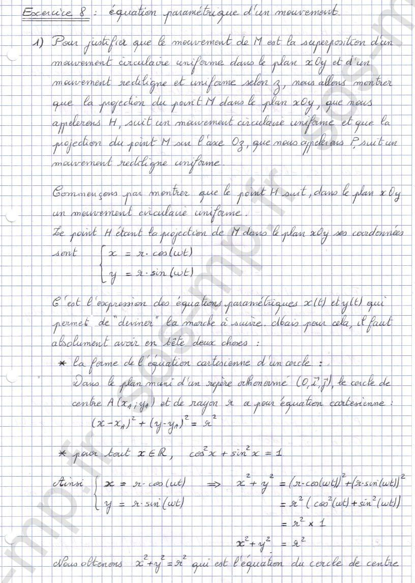 sos-mp.fr - Mécanique - Equation parametrique d'un mouvement - Exo8-1