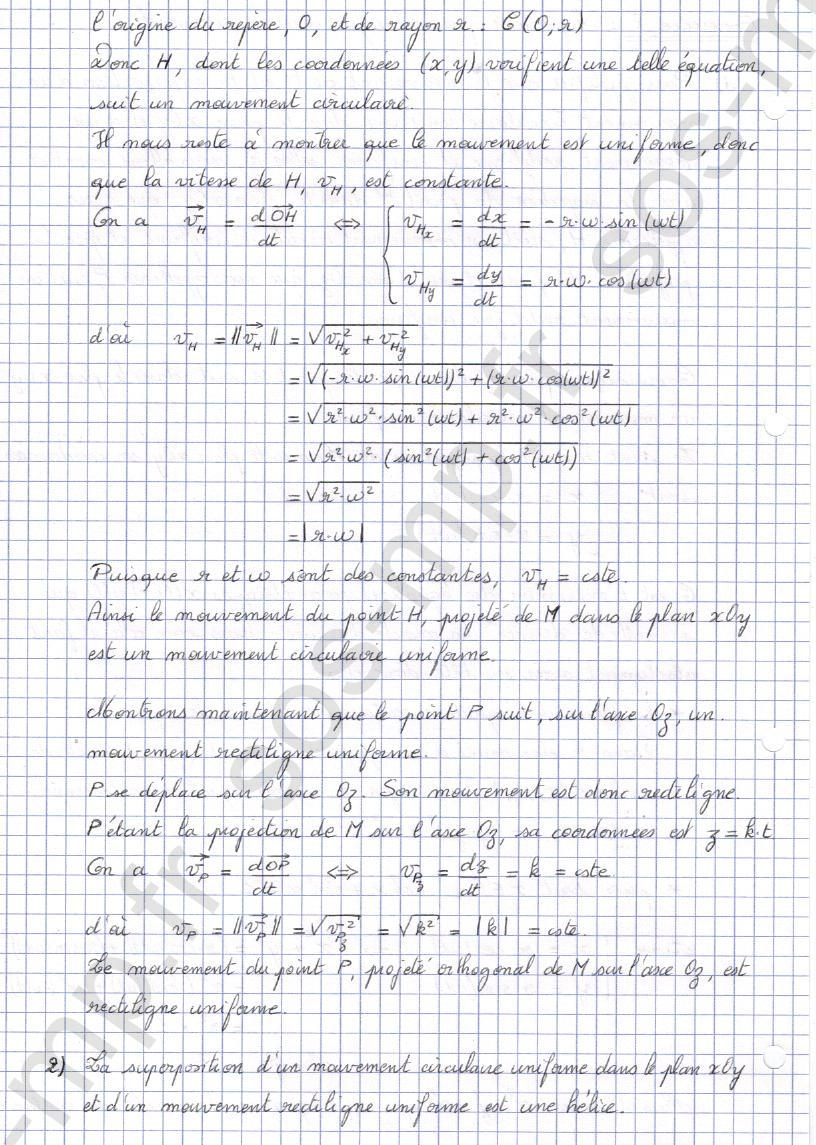 sos-mp.fr - Mécanique - Equation parametrique d'un mouvement - Exo8-2