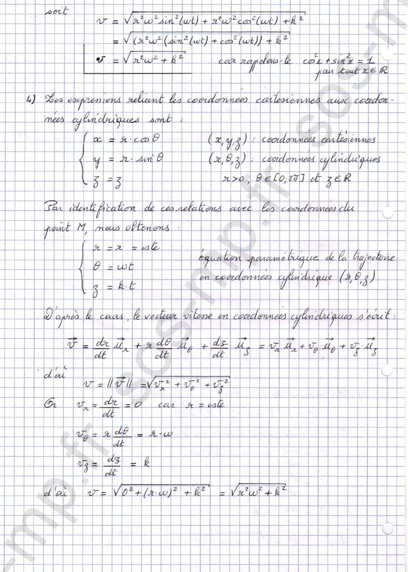 sos-mp.fr - Mécanique - Equation parametrique d'un mouvement - Exo8-4